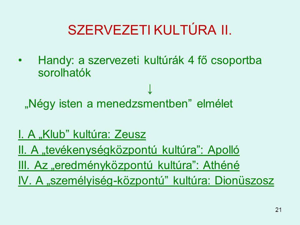 """SZERVEZETI KULTÚRA II. Handy: a szervezeti kultúrák 4 fő csoportba sorolhatók. ↓ """"Négy isten a menedzsmentben elmélet."""