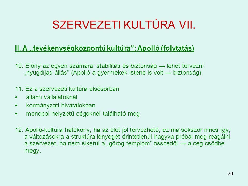 SZERVEZETI KULTÚRA VII.
