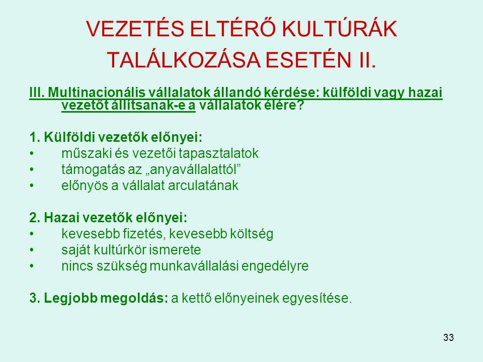 VEZETÉS ELTÉRŐ KULTÚRÁK TALÁLKOZÁSA ESETÉN II.