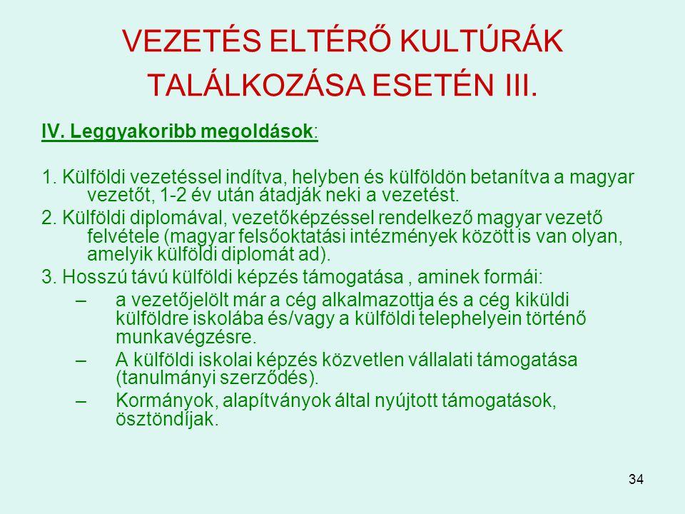 VEZETÉS ELTÉRŐ KULTÚRÁK TALÁLKOZÁSA ESETÉN III.