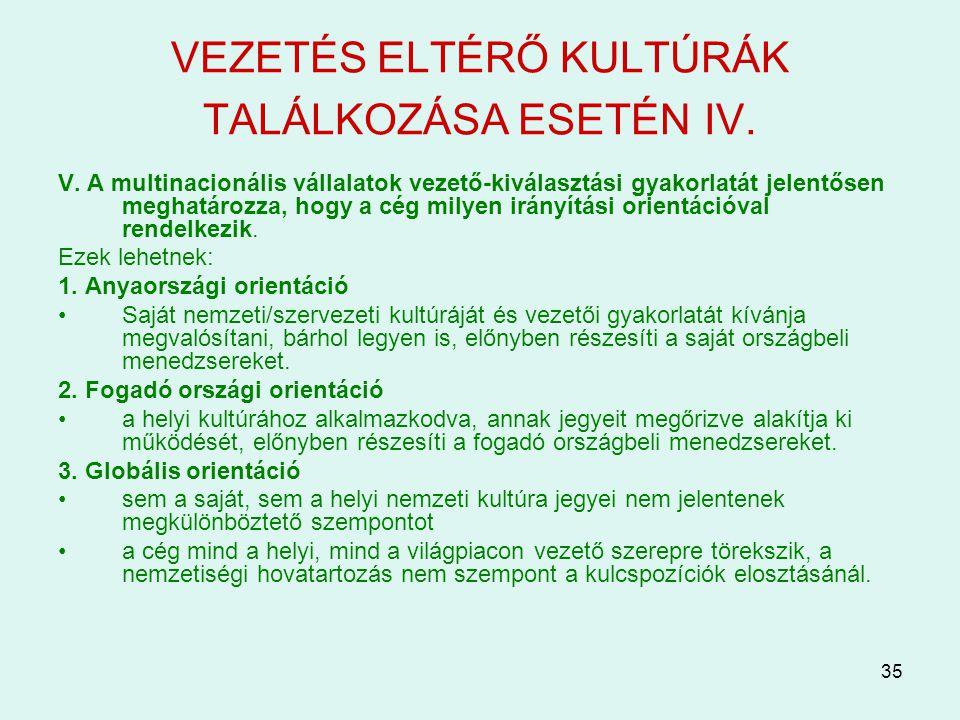 VEZETÉS ELTÉRŐ KULTÚRÁK TALÁLKOZÁSA ESETÉN IV.