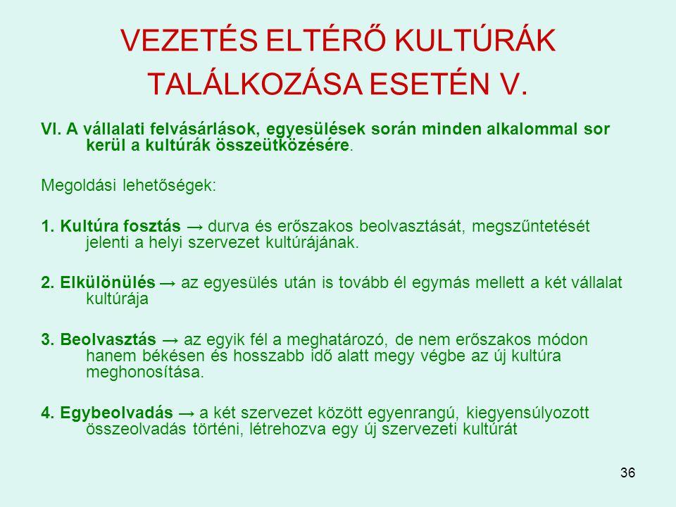 VEZETÉS ELTÉRŐ KULTÚRÁK TALÁLKOZÁSA ESETÉN V.