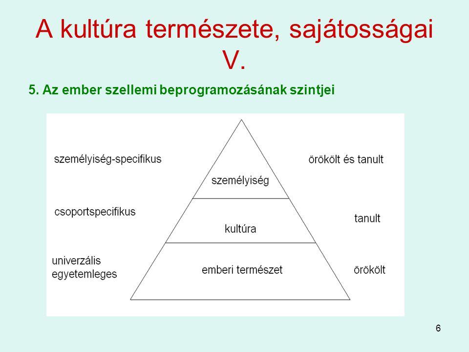 A kultúra természete, sajátosságai V.