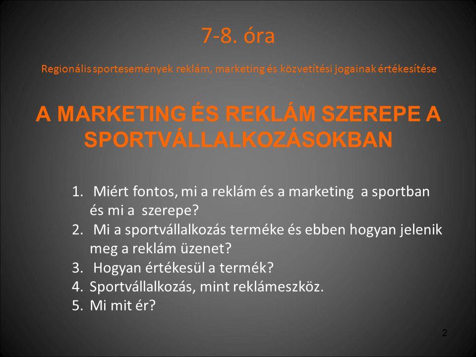 7-8. óra Regionális sportesemények reklám, marketing és közvetítési jogainak értékesítése A MARKETING ÉS REKLÁM SZEREPE A SPORTVÁLLALKOZÁSOKBAN.