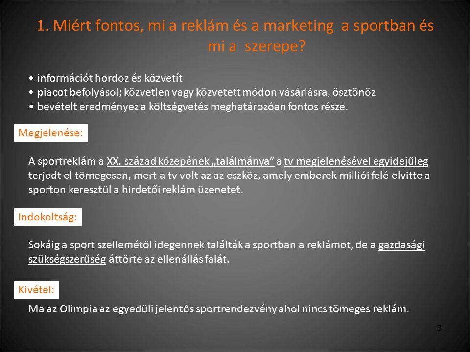 1. Miért fontos, mi a reklám és a marketing a sportban és mi a szerepe