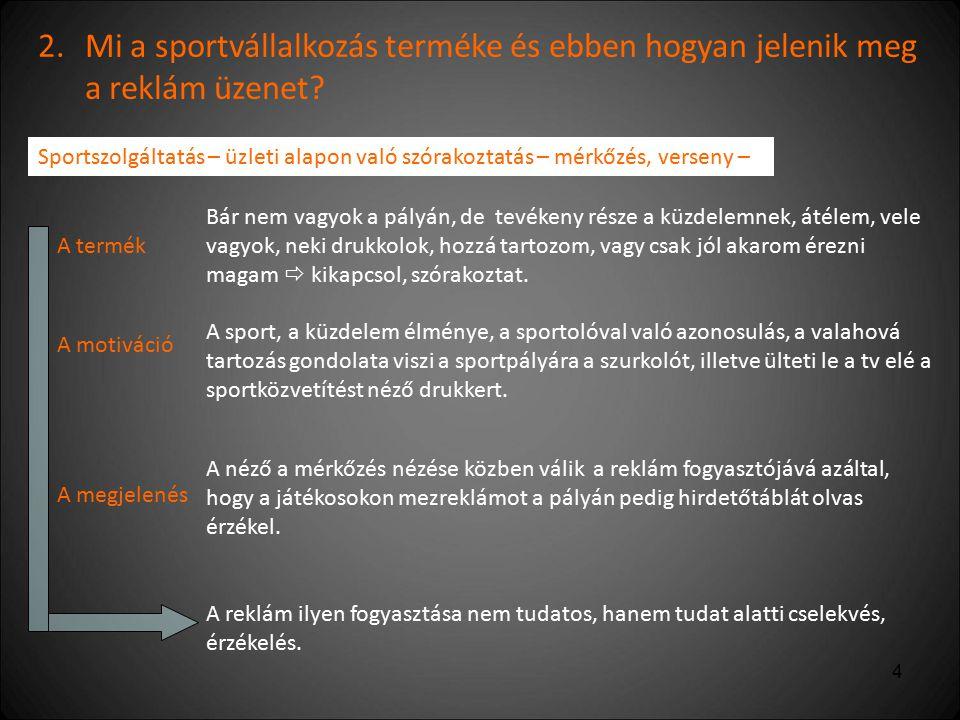 2. Mi a sportvállalkozás terméke és ebben hogyan jelenik meg a reklám üzenet