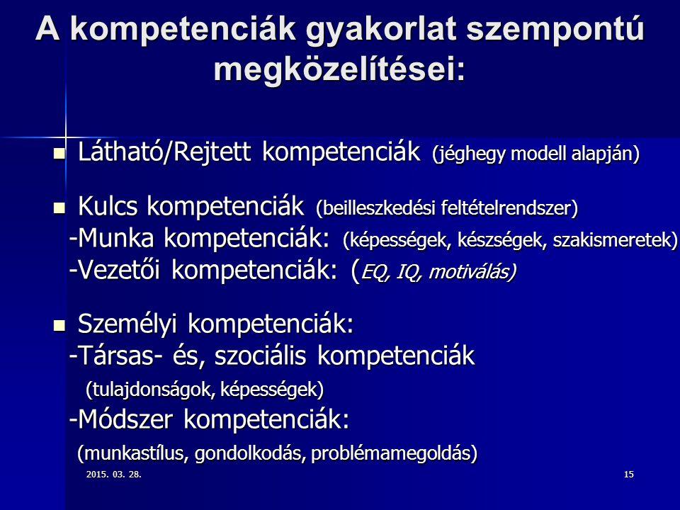 A kompetenciák gyakorlat szempontú megközelítései: