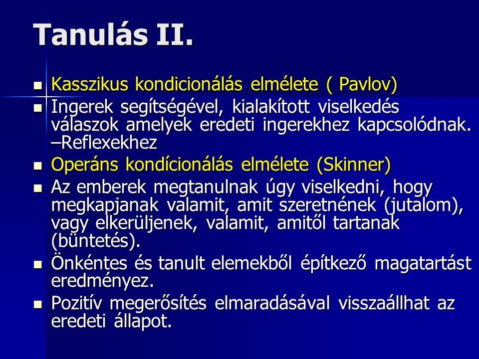 Tanulás II. Kasszikus kondicionálás elmélete ( Pavlov)