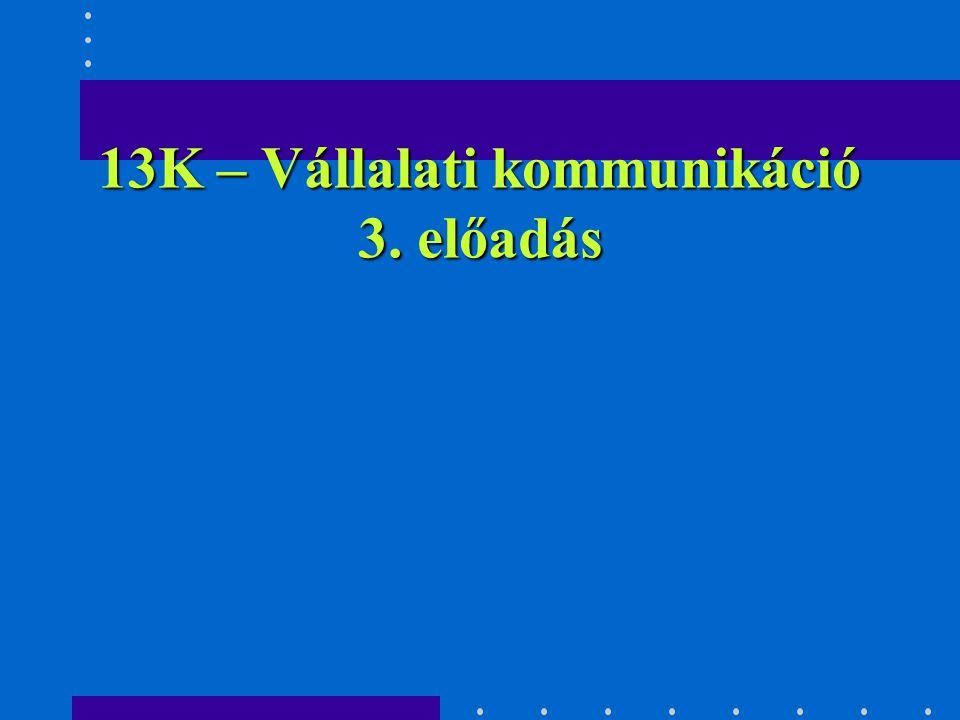 13K – Vállalati kommunikáció 3. előadás