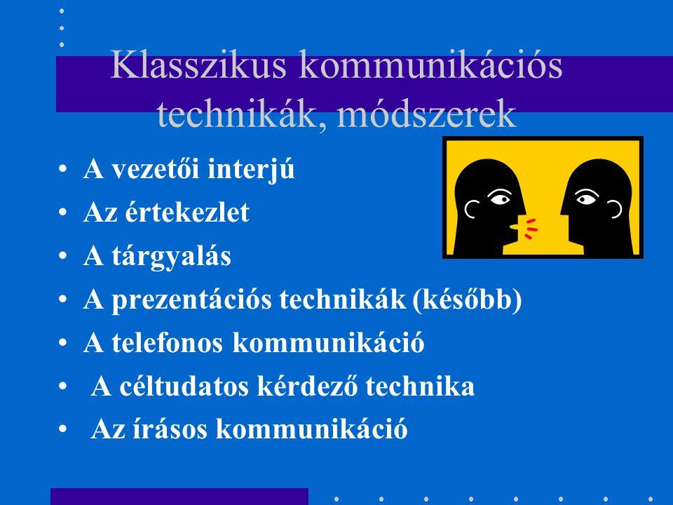 Klasszikus kommunikációs technikák, módszerek