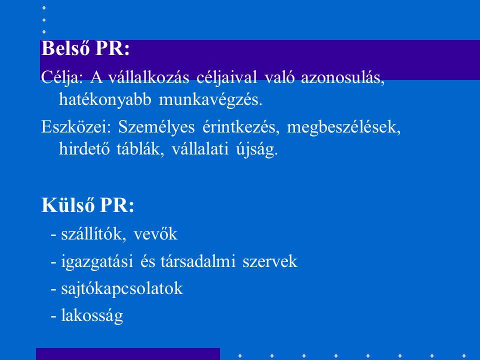 Belső PR: Célja: A vállalkozás céljaival való azonosulás, hatékonyabb munkavégzés.