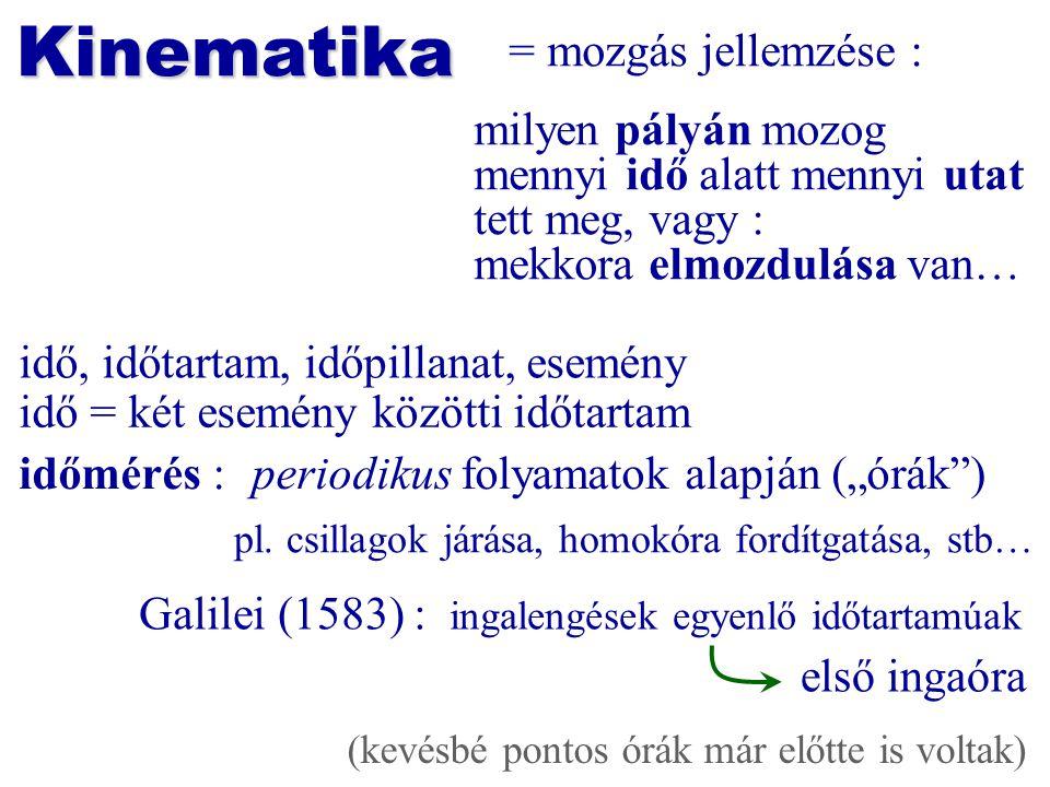 Kinematika = mozgás jellemzése : milyen pályán mozog