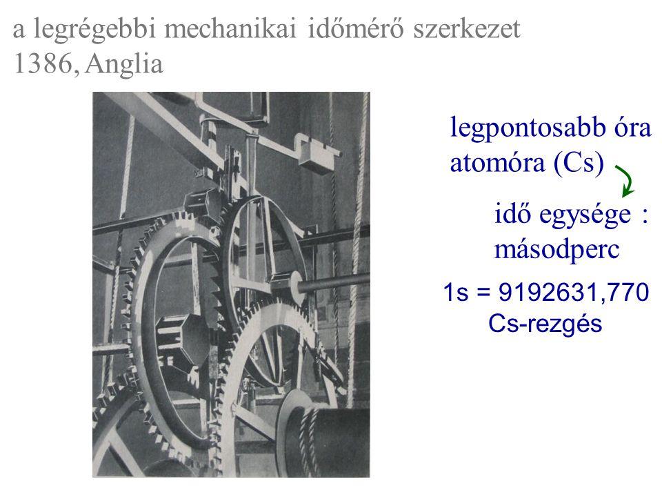a legrégebbi mechanikai időmérő szerkezet 1386, Anglia