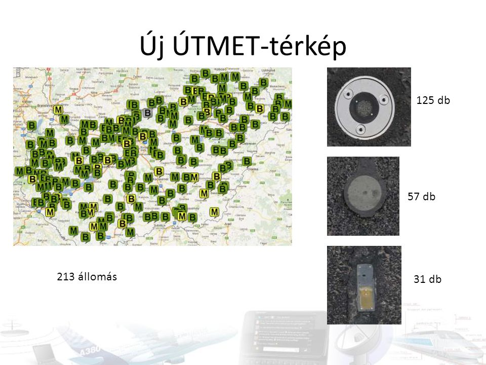 Új ÚTMET-térkép 125 db 57 db 213 állomás 31 db