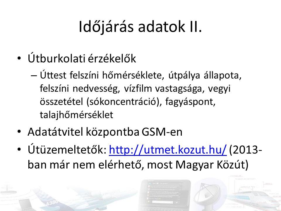 Időjárás adatok II. Útburkolati érzékelők Adatátvitel központba GSM-en