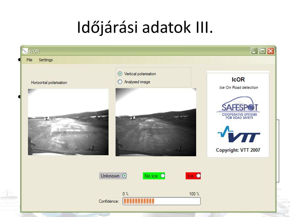Időjárási adatok III. Kamera-képek alapján köd érzékelés