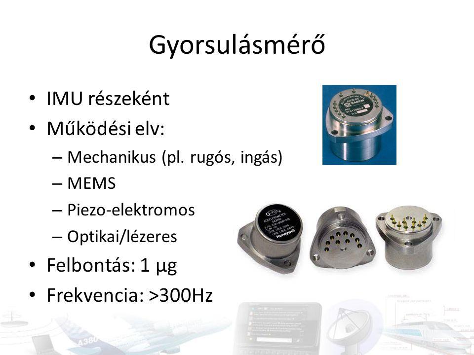 Gyorsulásmérő IMU részeként Működési elv: Felbontás: 1 µg