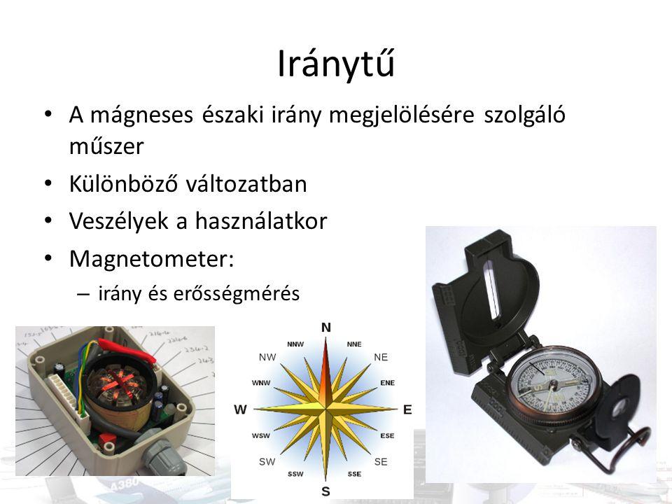 Iránytű A mágneses északi irány megjelölésére szolgáló műszer
