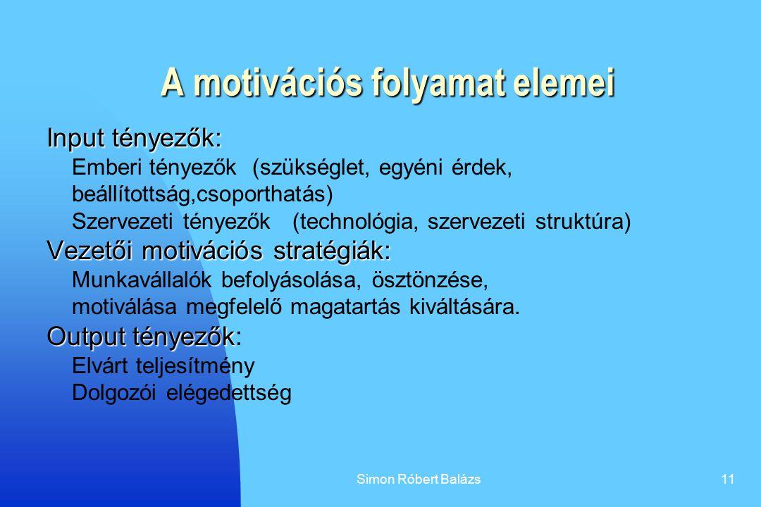 A motivációs folyamat elemei
