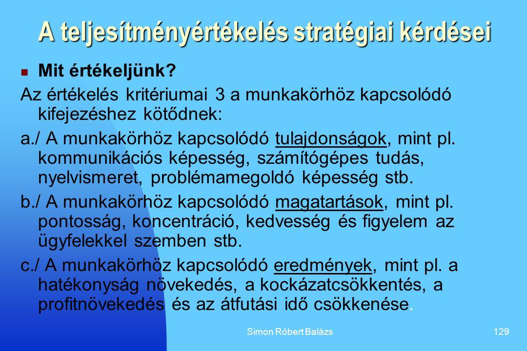 A teljesítményértékelés stratégiai kérdései