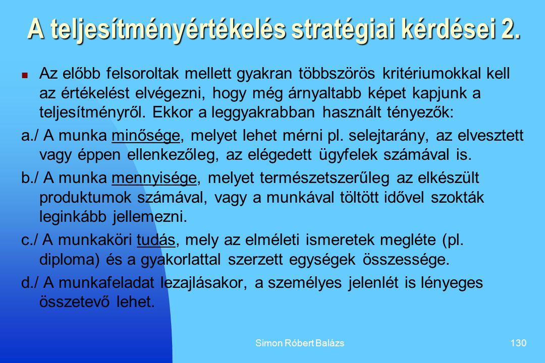 A teljesítményértékelés stratégiai kérdései 2.