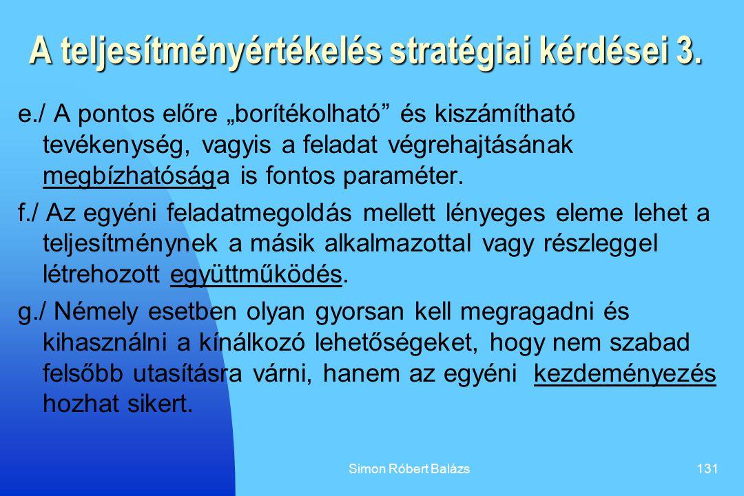 A teljesítményértékelés stratégiai kérdései 3.