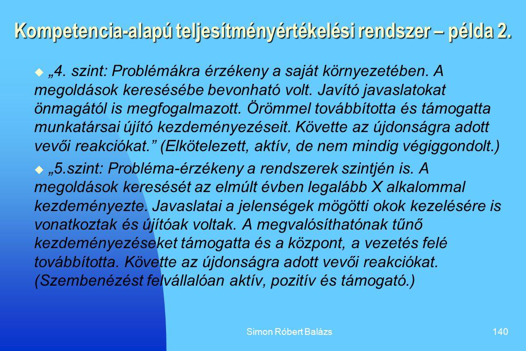 Kompetencia-alapú teljesítményértékelési rendszer – példa 2.