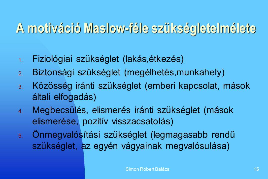A motiváció Maslow-féle szükségletelmélete