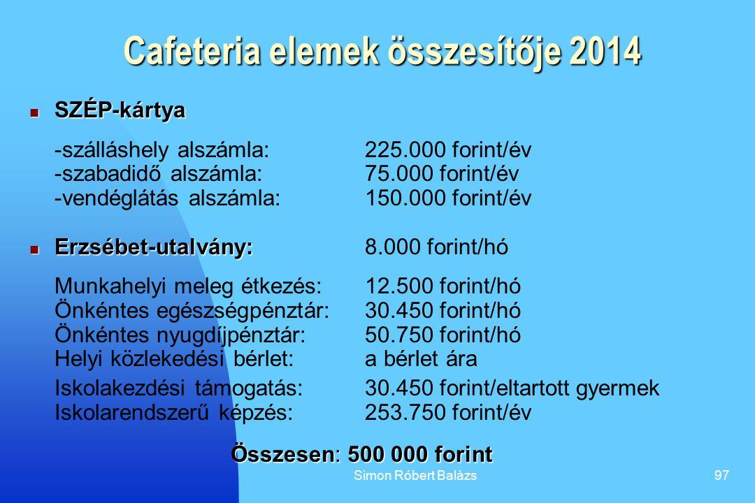 Cafeteria elemek összesítője 2014