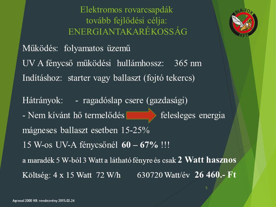 Elektromos rovarcsapdák tovább fejlődési célja: ENERGIANTAKARÉKOSSÁG