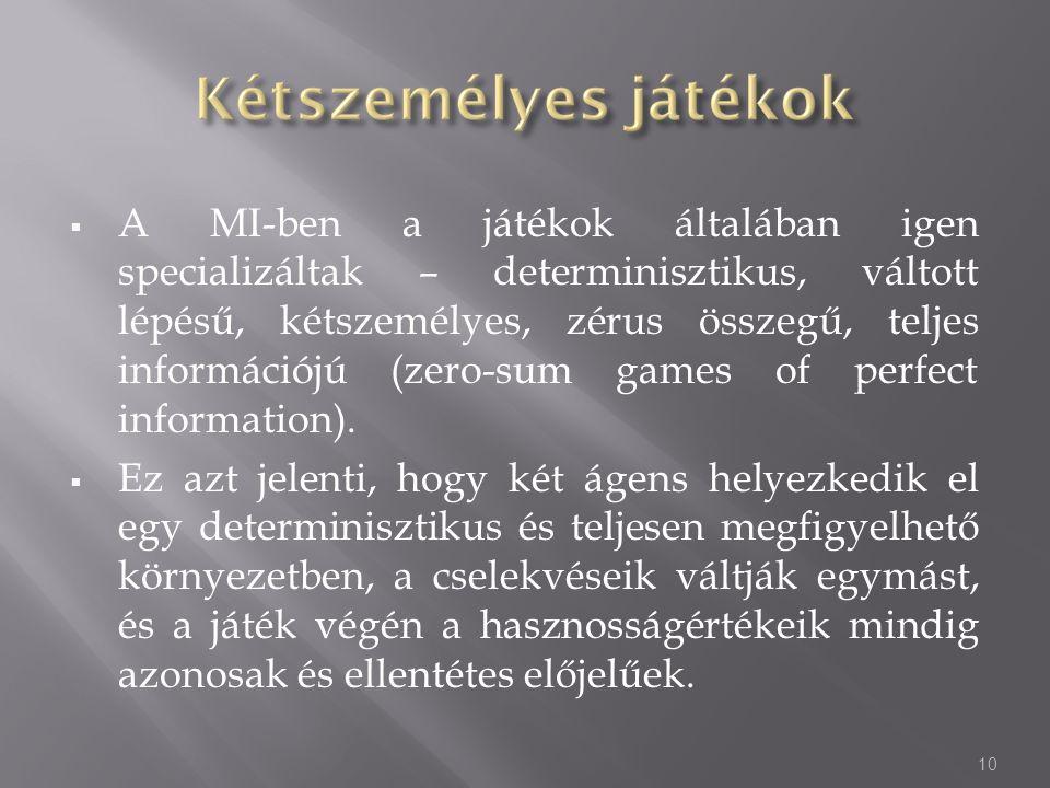 A MI-ben a játékok általában igen specializáltak – determinisztikus, váltott lépésű, kétszemélyes, zérus összegű, teljes információjú (zero-sum games of perfect information).