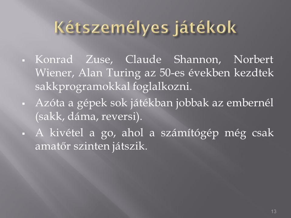 Konrad Zuse, Claude Shannon, Norbert Wiener, Alan Turing az 50-es években kezdtek sakkprogramokkal foglalkozni.