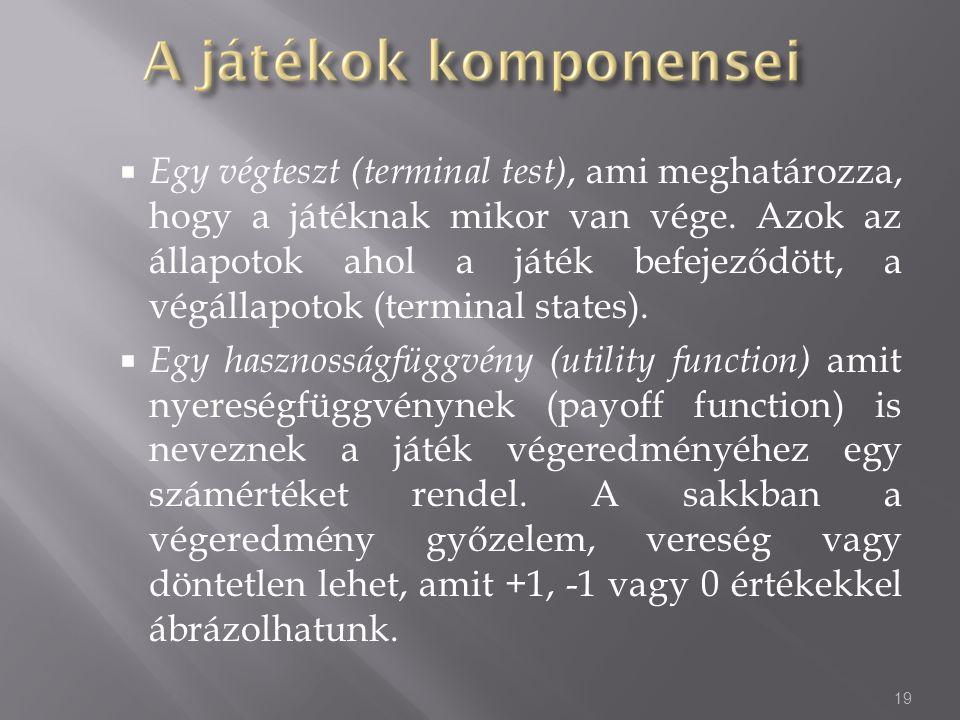 Egy végteszt (terminal test), ami meghatározza, hogy a játéknak mikor van vége. Azok az állapotok ahol a játék befejeződött, a végállapotok (terminal states).