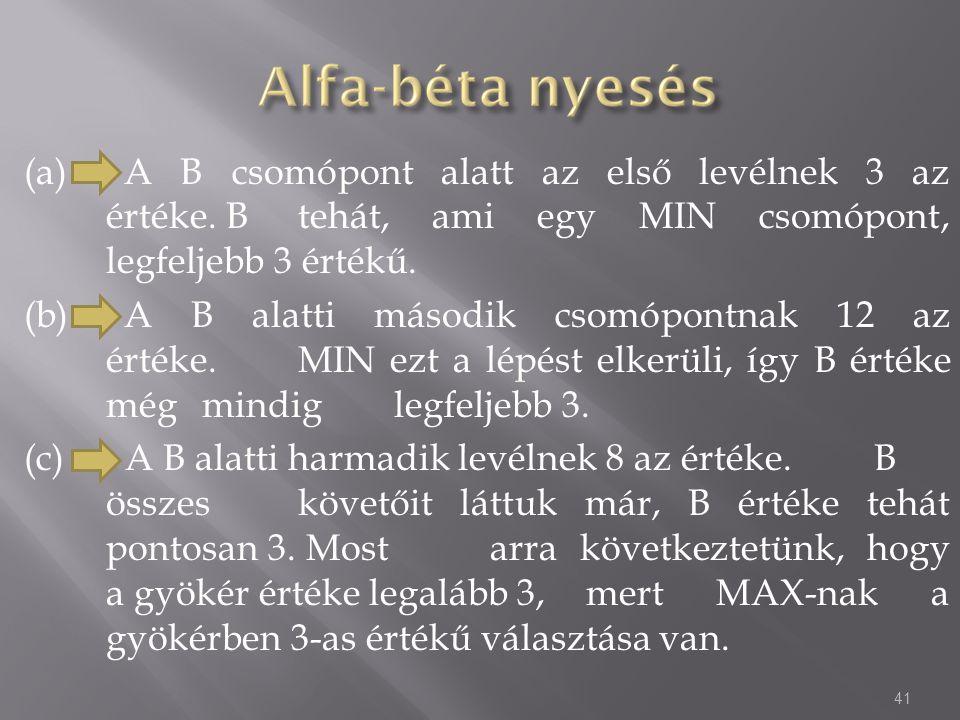 (a). A B csomópont alatt az első levélnek 3 az. értéke. B