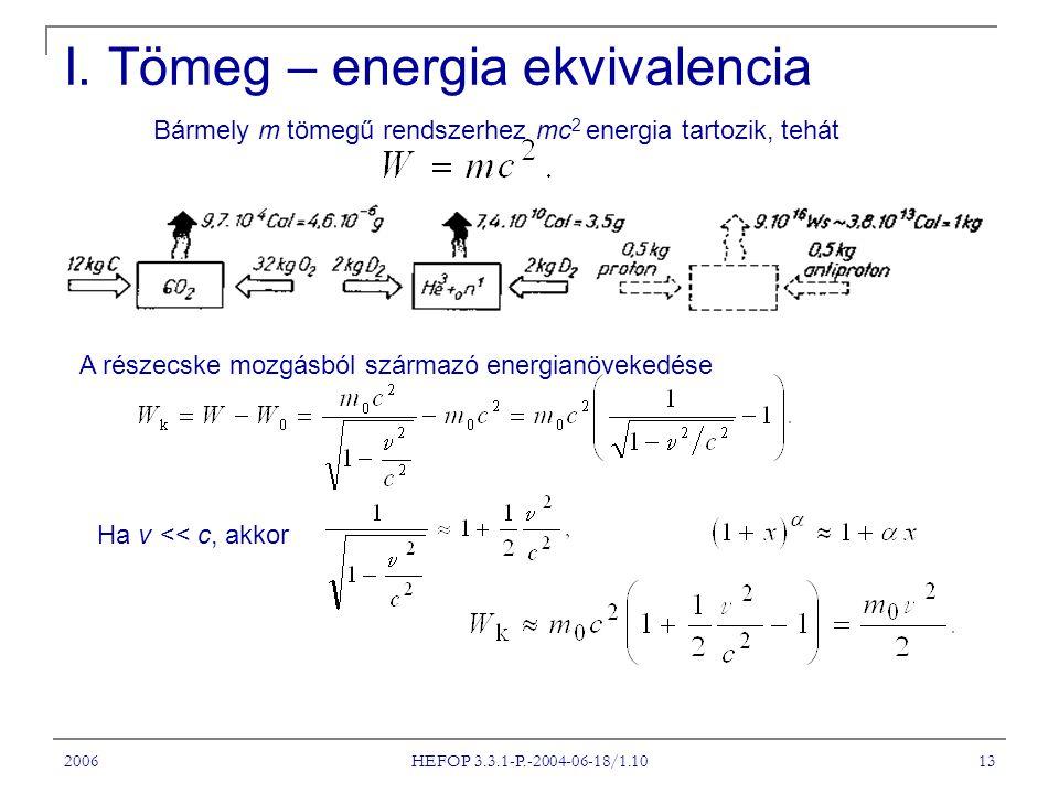 I. Tömeg – energia ekvivalencia