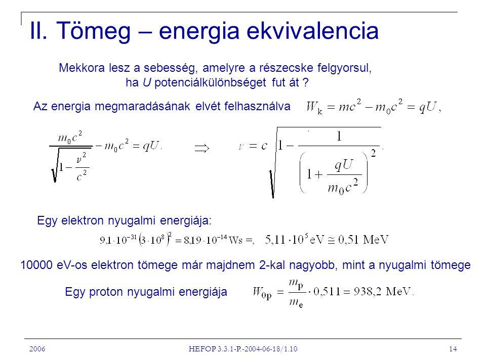 II. Tömeg – energia ekvivalencia