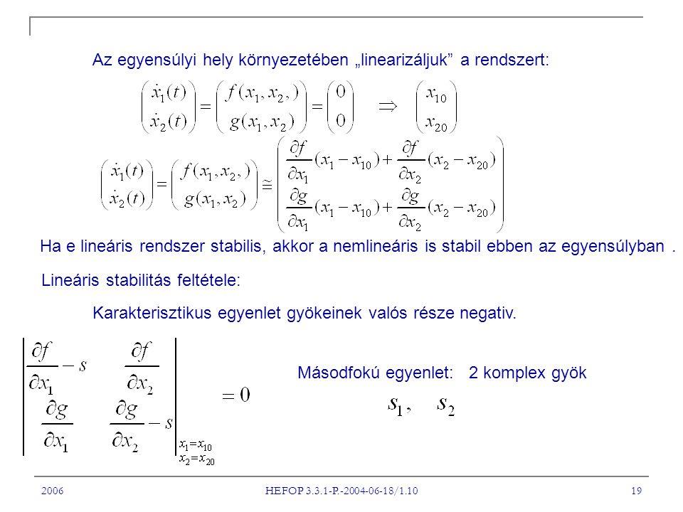 """Az egyensúlyi hely környezetében """"linearizáljuk a rendszert:"""