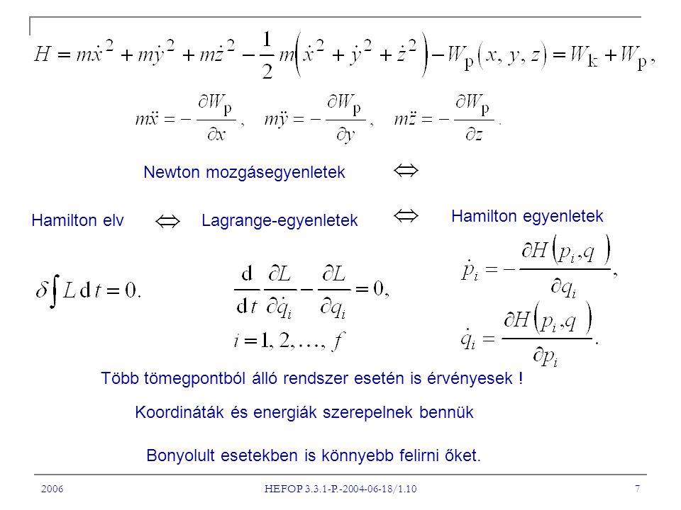 Newton mozgásegyenletek