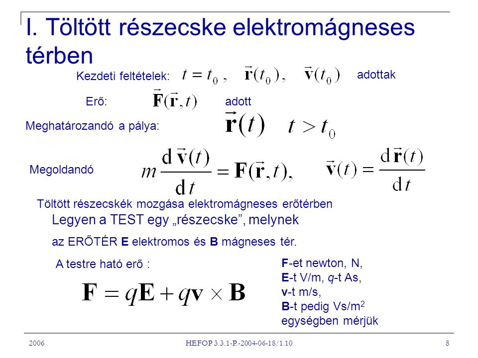 I. Töltött részecske elektromágneses térben