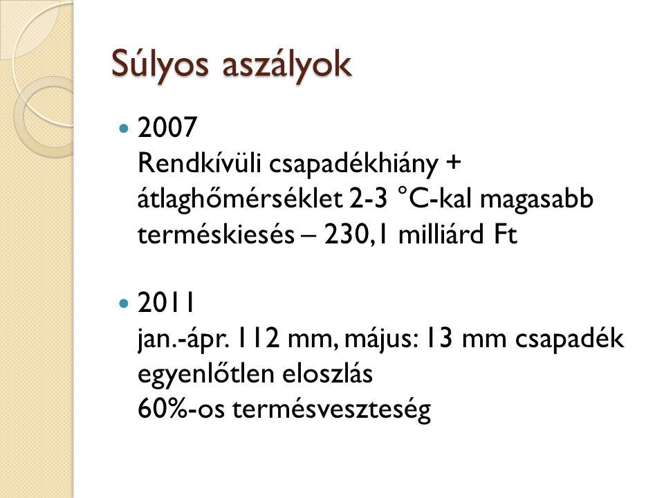 Súlyos aszályok 2007 Rendkívüli csapadékhiány + átlaghőmérséklet 2-3 °C-kal magasabb terméskiesés – 230,1 milliárd Ft.