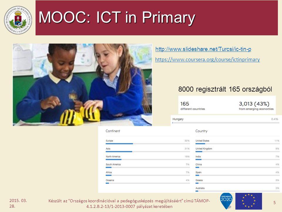 MOOC: ICT in Primary 8000 regisztrált 165 országból