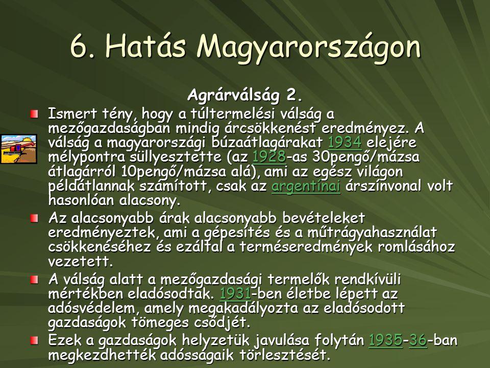 6. Hatás Magyarországon Agrárválság 2.