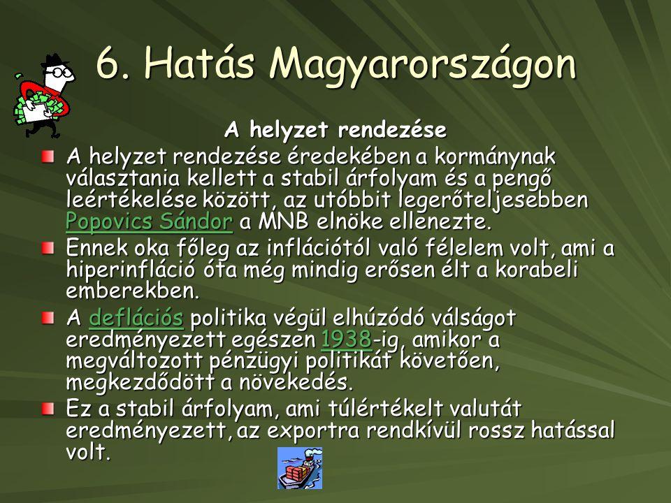 6. Hatás Magyarországon A helyzet rendezése