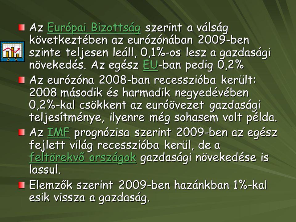 Az Európai Bizottság szerint a válság következtében az eurózónában 2009-ben szinte teljesen leáll, 0,1%-os lesz a gazdasági növekedés. Az egész EU-ban pedig 0,2%