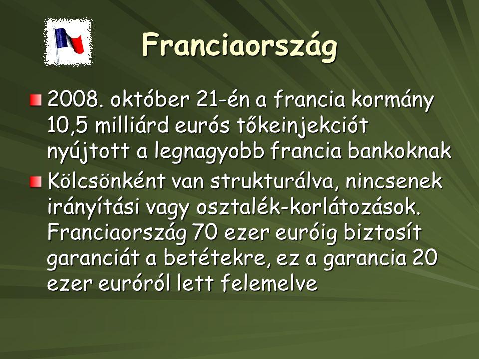 Franciaország 2008. október 21-én a francia kormány 10,5 milliárd eurós tőkeinjekciót nyújtott a legnagyobb francia bankoknak.