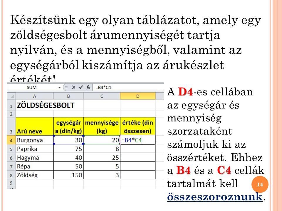 Készítsünk egy olyan táblázatot, amely egy zöldségesbolt árumennyiségét tartja nyilván, és a mennyiségből, valamint az egységárból kiszámítja az árukészlet értékét!