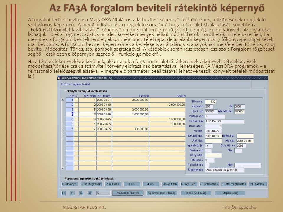 Az FA3A forgalom beviteli rátekintő képernyő