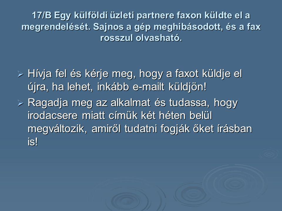 17/B Egy külföldi üzleti partnere faxon küldte el a megrendelését