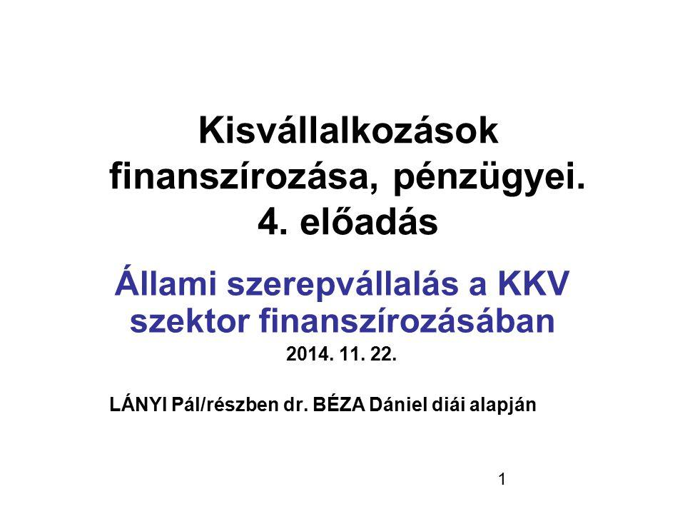 Kisvállalkozások finanszírozása, pénzügyei. 4. előadás
