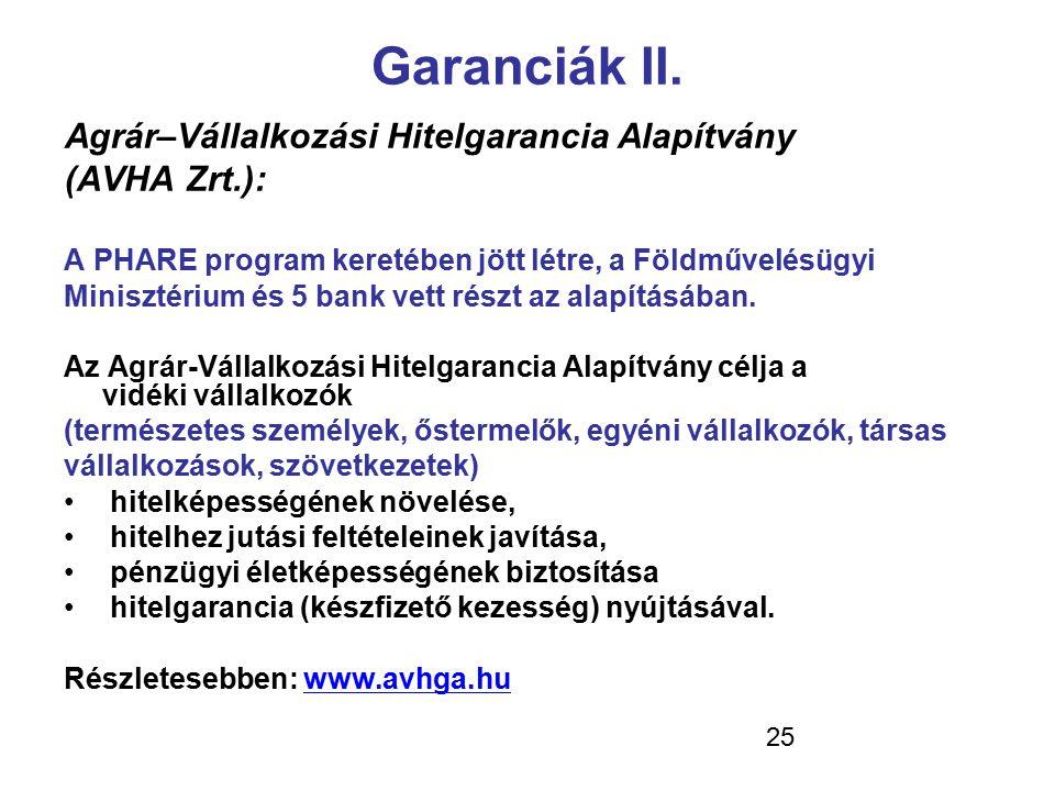 Garanciák II. Agrár–Vállalkozási Hitelgarancia Alapítvány (AVHA Zrt.):
